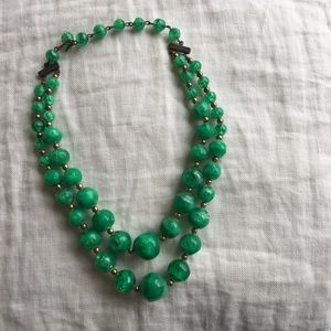 [vintage] green beaded necklace double layered